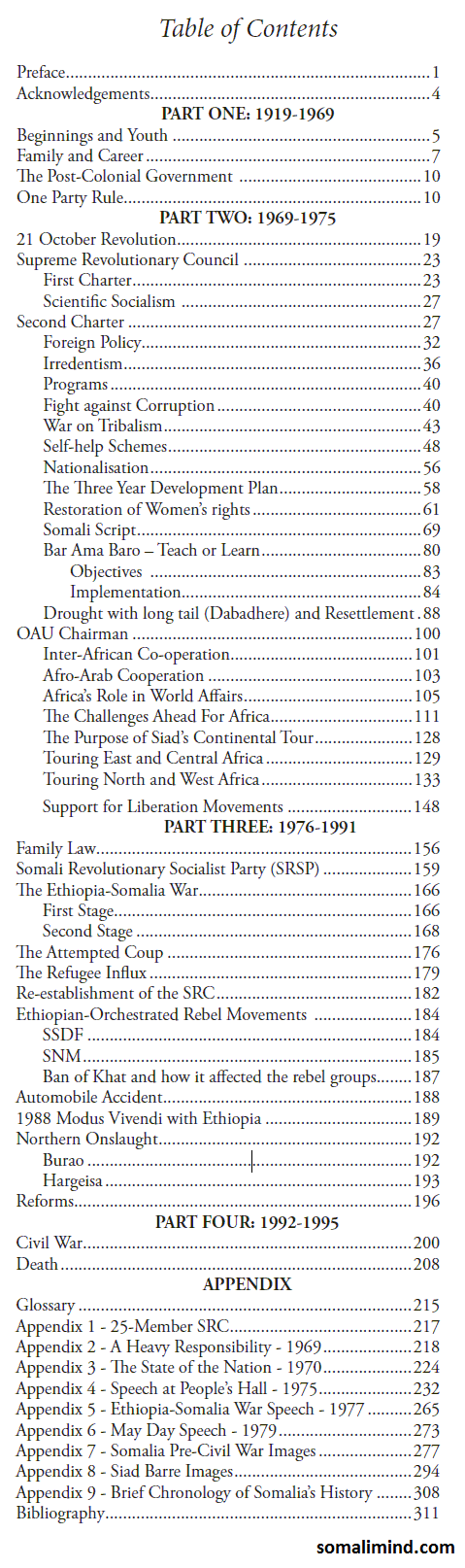tableofcontents1 Somali President: Mohammed Siad Barre, His Life and Legacy   Table of Contents